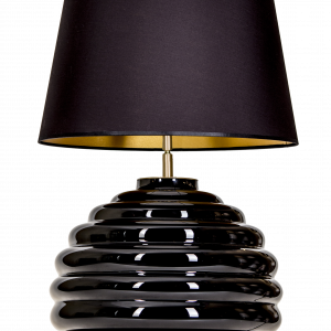 SaintTropez black base black and gold shade table lamp